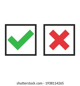 Yes Or No. Check Mark And Cross. Vectot Illustration