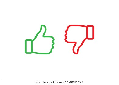 Yes and No check marks with thumbs up and down. Vector illustration. Red and green on white background.