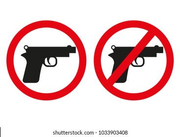 Yes or no to gun control. Sign with both handgun allowed and banned. Symbolic icon design includes automatic pistol with circle with a red line through it - the second amendment gun rights issue.