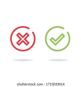 Yes or no, icon set of rating buttons, agree or disagree symbol illustration