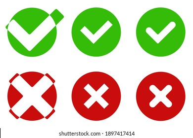 Yes and no icons in color version isolated on white background. Agree or reject icon.