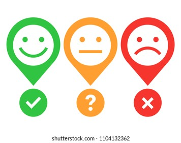 Yes No Maybe. Happy, neutral and sad emotion faces. Vector illustration.