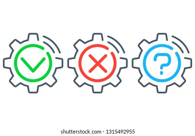 Yes, No, Maybe. Questions & answer for troubleshooting. Spinning gears and cogs machine icons. Vector illustration.