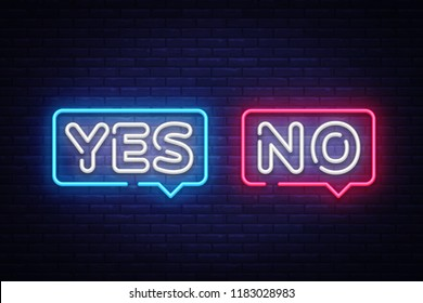 Yes No Neon Text Vector. Yes No neon sign, design template, modern trend design, night neon signboard, night bright advertising, light banner, light art. Vector illustration