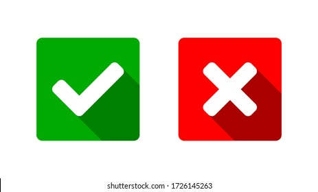 Yes and No or Right and Wrong or Approved and Declined Icons with Check Mark and X Signs with Shadow in Green and Red Squares with Rounded Corners. Vector Image.