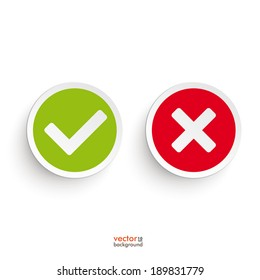 Yes and no round icons on the white background. Eps 10 vector file.
