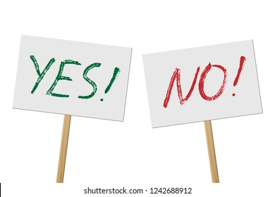Yes and No signs banners on wood stick collection. Vector protest signs with Yes and No words isolated on white background