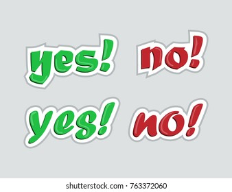 Yes and no. Stickers for social networks. Vector illustration