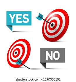 Yes and No Symbols with Darts in the Centre of Target and off the Bullseye