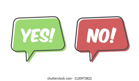 Yes and No text speech bubble isolated on white background. Vector stock.