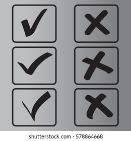 Yes No tick, check icon, accept decline vector illustration