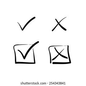 Yes no tick cross box signs vote test answer hand-drawn