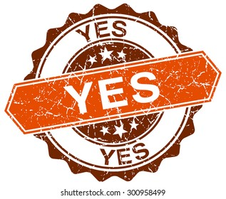 yes orange round grunge stamp on white