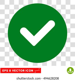Yes round icon. Vector EPS illustration style is flat iconic bicolor symbol, white and green colors, transparent background.