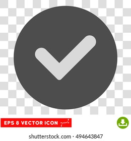 Yes round icon. Vector EPS illustration style is flat iconic bicolor symbol, light gray and gray colors, transparent background.