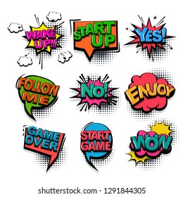 Yes wake up wow comic text collection sound effects pop art style. Set vector speech bubble with word and short phrase cartoon expression illustration. Comics book colored background template.