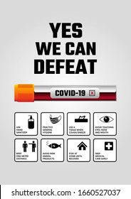 Yes we can defeat Covid-19. Coronavirus prevention poster with signs. Basic protective measures against the new coronavirus. Important information and guidance to stay healthy from Covid-19 outbreak.