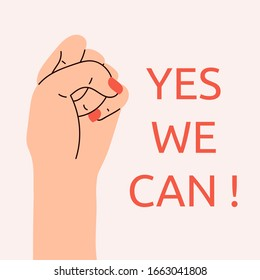 Yes, Women Can. Woman's hand with her fist raised up. Girl Power. Feminism concept. Realistic style vector illustration in pink pastel goth colors. Sticker, patch graphic design.
