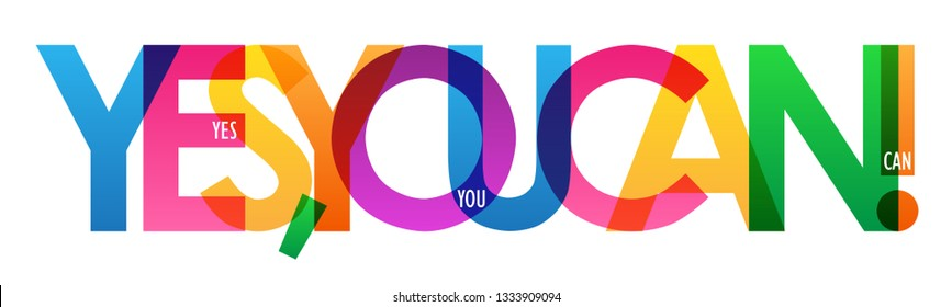 YES, YOU CAN! colorful typography banner