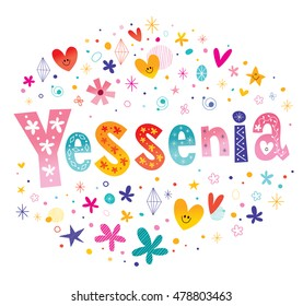 Yessenia girls name decorative lettering type design