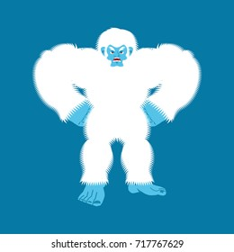 Yeti angry. Bigfoot evil. Abominable snowman aggressive. Vector illustration