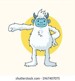 yeti and bigfoot abominable snowman vector illustration mascot