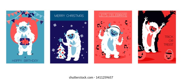Yeti bigfoot characters cards for birthday, christmas, halloween. Vector illustration for banners. Let s celebrate. Trick or treat. Monsters with gifts, New year tree, earphones, pumpkin.
