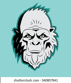 Yeti Bigfoot Head Vector. Vector Sasquatch. Abominable Snowman. Yeti Monster. Bigfoot Portrait. Bigfoot Vector Picture. Yeti mascot vector.