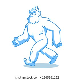 Yeti bigfoot isolation on white. Funny yeti - blue sasquatch cartoon illustration.