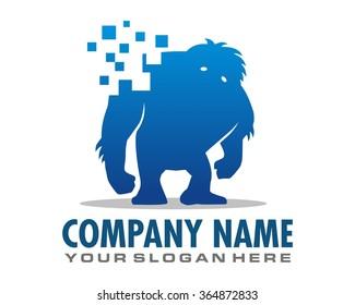 yeti blue pixel image silhouette logo