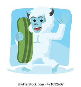 yeti carrying snow board