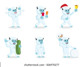 yeti cartoon set illustration design