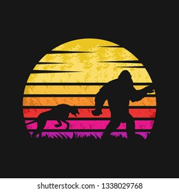 yeti and cheetah sunset retro vector illustration