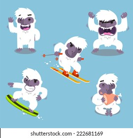 Yeti Cold Winter Set vector illustration