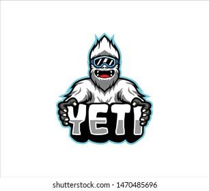 Yeti fun pose vector, Yeti vector emblem