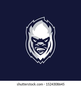 Yeti Ice Head Sports Logo Vector Template Mascot