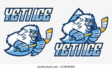 Yeti Ice Hockey Mascot  Set
