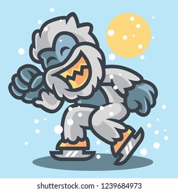 Yeti ice skating icon logo badge mascot vector