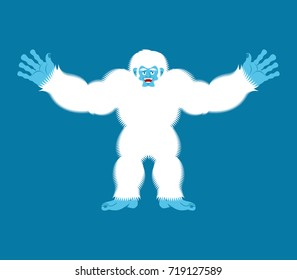 Yeti joyful. Bigfoot cheerful. Abominable snowman happy. Vector illustration