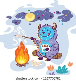 Yeti roasts marshmallows over a campfire. Vector illustration of cute monster in cartoon style. Can be used as card, poster, fashion, print