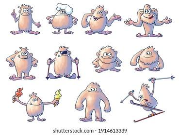 Yeti - set of illustrations, cartoon illustration isolated on white background, vector