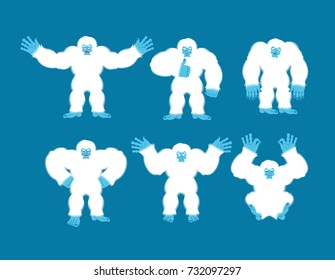 Yeti set poses and motion. Bigfoot happy and yoga. Abominable snowman sleeping and angry. Monster guilty and sad. Vector illustration