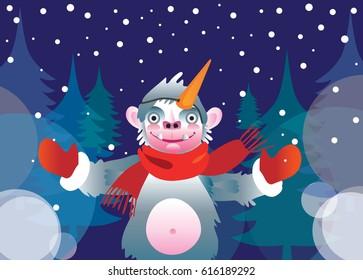 Yeti's winter greeting. Vector illustration