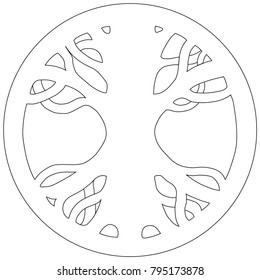 Yggdrasil - Scandinavian symbol of Norse Mythology. Symbol of belief of vikings. Old Norse symbol of mythical holy ash tree uniting the realms. Isolated vector illustration. Black and white line art.