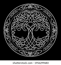 Yggdrasil tree of life Celtic sacred symbol. Celtic astronomy is a magical symbol of rebirth, positive energy and balance in nature. Vector tattoo, logo.