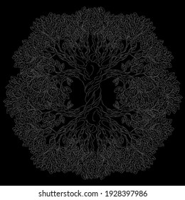 Yggdrasil tree. Vector celtic symbol of the ancient Vikings. The symbol of the ancient peoples of northern Europe. Norse cosmology, is an immense and central sacred tree.
