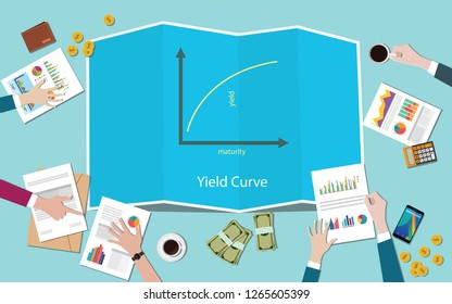 yield curve with team working together on the table vector illustration