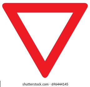 Yield Triangle Sign - Road traffic coordination symbol on white background