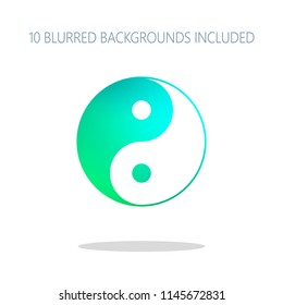 yin yan symbol. Colorful logo concept with simple shadow on white. 10 different blurred backgrounds included