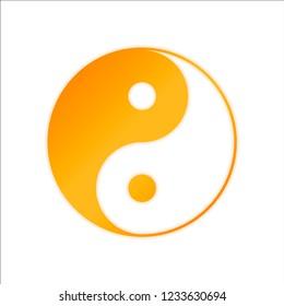 yin yan symbol. Orange sign with low light on white background